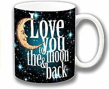 Liebe Dich zu den Moon & Back Schwarz Blau Keramik Kaffee Tasse Einzigartige Geschenkidee