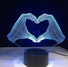 Liebe Herz Hand Geste 3D Lampe LED Nachtlicht mit