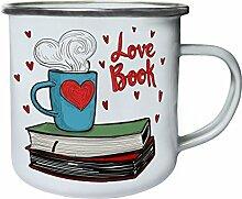 Liebesbücher Retro, Zinn, Emaille 10oz/280ml Becher Tasse u260e