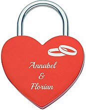 Liebesschloss in Herzform mit persönlicher