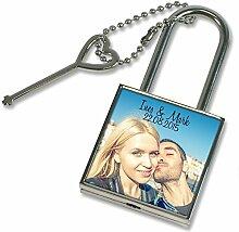 Liebesschloss mit Foto optional mit Text und Datum - Fotoschloss - Liebesgeschenk - Valentinstagsgeschenk