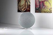Liebevoll handgearbeitete Baumwollkugel als Bodenlampe - Stehlampe, in 2 Größen verfügbar, Grau (36cm)