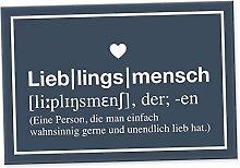 Lieblingsmensch Definition Blau - Schild, Türschild, Süße Geschenkidee Geburtstagsgeschenk beste Freundin, Kleines und persönliches Geschenk für Deinen Lieblingsmenschen, Deko - Wanddeko