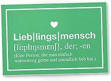 Lieblingsmensch Definition Grün - Schild, Türschild, Süße Geschenkidee Geburtstagsgeschenk beste Freundin, Kleines und persönliches Geschenk für Deinen Lieblingsmenschen, Deko - Wanddeko