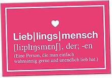 Lieblingsmensch Definition Rosa - Schild, Türschild, Süße Geschenkidee Geburtstagsgeschenk beste Freundin, Kleines und persönliches Geschenk für Deinen Lieblingsmenschen, Deko - Wanddeko