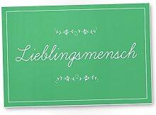 Lieblingsmensch Schild Grün - Schild, Türschild, Süße Geschenkidee Geburtstagsgeschenk beste Freundin, Kleines und persönliches Geschenk für Deinen Lieblingsmenschen, Deko - Wanddeko