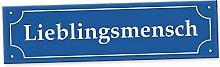 Lieblingsmensch Straßenschild (40 x 10 cm) - Schild, Türschild, Süße Geschenkidee Geburtstagsgeschenk beste Freundin - bester Freund, kleines und persönliches Geschenk, Deko - Wanddeko