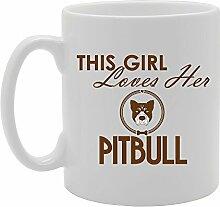 Liebt das Mädchen die Pitbull Funny Tasse Kaffee