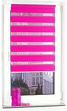 Liedeco® DUO Rollo Klemmfix - 80 x 200 cm red magnolia (rot) (Breite x Höhe) / transparent lichtdurchlässig blickdicht und stufenlos verstellbar / leichte Innen-Montage ohne Bohren mit Klemmträger / 123 montiert / Doppelrollo farbig zum Klemmen fürs Fenster in vielen Farben und Größen