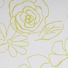 Liedeco Flächenvorhang Stoff Print, Schiebevorhang weiß grün