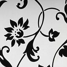 Liedeco Flächenvorhang Stoff Print, Schiebevorhang weiß schwarz