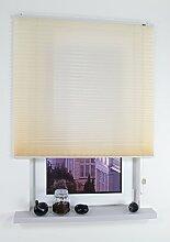 Liedeco® Klemmfix-Plissee freihängend inkl. Klemmträger - 100 x 175 cm beige / Plissee farbig zum Klemmen fürs Fenster / Sonnenschutz und Fensterdekoration innen / lichtdurchlässig blickdicht und verstellbar / Innen-Montage ohne Bohren / 123 montiert / Falt-Plissee / Plissee-Rollo Sichtschutz Blendschutz