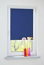 Liedeco® Rollo Klemmfix Thermobeschichtet - 100 x 150 cm blau (Breite x Höhe) / lichtundurchlässig verspannt blickdicht verdunkelnd und stufenlos verstellbar / leichte Innen-Montage ohne Bohren mit Klemmträger / 123 montiert / Klemmfix-Rollo farbig zum Klemmen fürs Fenster in vielen Farben und Größen / Klemmfix Rollo als Sonnenschutz Sichtschutz Blendschutz und Fensterdekoration innen / Rollos Falt-Plissee Jalousien Zubehör von Liedeco