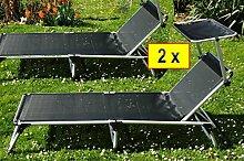 Liege, 2 Stück Gartenliegen, Relaxliege - extrem
