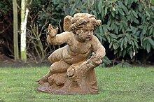 Liegender Engel, Steinfigur, Gartenfigur Farbe