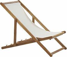Liegestuhl aus hellem Akazienholz mit beigem Bezug