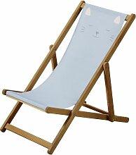 Liegestuhl aus massivem Akazienholz und Stoff,