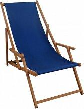 Liegestuhl blau Sonnenliege Gartenliege Holz