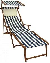 Liegestuhl blau-weiß Gartenliege Deckchair Buche