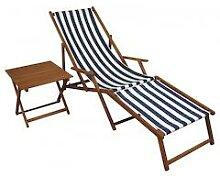 Liegestuhl blau-weiß Sonnenliege Fußteil Tisch