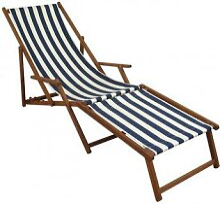 Liegestuhl blau-weiß Sonnenliege Gartenliege