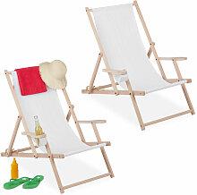 Liegestuhl klappbar, 2er Set, Holz & Stoff, 3