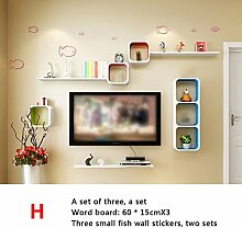 LIEHU HOME-Wandregale Trennwände, Wandgitter Regale, Wandfarbe Farbe Wohnzimmer Restaurant Sofa TV Wanddekoration Racks Wandregale ( stil : H )