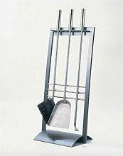 Lienbacher Kaminbesteck Edelstahl anthrazit beschichtet, Edelstahlgriffe mit Haltesicherung 3-tlg.