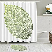 Lieteuy Stoff Duschvorhang und Matten Set,Blätter