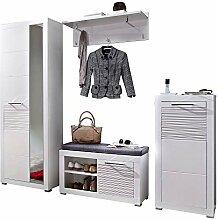 LIFE Garderoben Set, weiss hochglanz - moderne