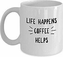 Life Happens Kaffeetasse, 325 ml, Keramik, weiß,
