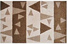 LifeStyle-Mat 100178 Dreieck, rutschfeste und waschbare Fußmatte, ideal für den Eingang, die Garderobe oder Küche, 40 x 60 cm, braun/beige