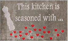 LifeStyle-Mat 100277 Küchenherzen, rutschfeste und waschbare Fußmatte, ideal für den Eingang, die Garderobe oder Küche, 67 x 110 cm, braun/ro