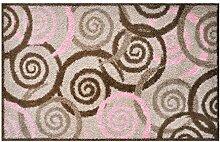 LifeStyle-Mat 100307 Spiralen mit Rand, rutschfeste und waschbare Fußmatte, ideal für den Eingang, die Garderobe oder Küche, 50 x 75 cm, braun/rosa