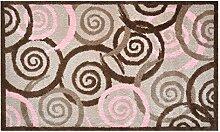 LifeStyle-Mat 100314 Spiralen mit Rand, rutschfeste und waschbare Fußmatte, ideal für den Eingang, die Garderobe oder Küche, 67 x 110 cm, braun / rosa