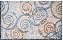 LifeStyle-Mat 100338 Spiralen mit Rand, rutschfeste und waschbare Fußmatte, ideal für den Eingang, die Garderobe oder Küche, 50 x 75 cm, grau / beige