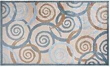 LifeStyle-Mat 100345 Spiralen mit Rand, rutschfeste und waschbare Fußmatte, ideal für den Eingang, die Garderobe oder Küche, 67 x 110 cm, grau / beige