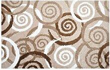 LifeStyle-Mat 100352 Spiralen, rutschfeste und waschbare Fußmatte, ideal für den Eingang, die Garderobe oder Küche, 50 x 75 cm, braun/beige/weiß