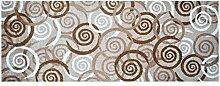 LifeStyle-Mat 100383 Spiralen, rutschfester und waschbarer Läufer, ideal für die Garderobe, Küche oder Schlafzimmer, 67 x 170 cm, braun/beige/weiß