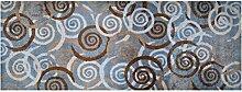 LifeStyle-Mat 100437 Spiralen, rutschfester und waschbarer Läufer, ideal für die Garderobe, Küche oder Schlafzimmer, 67 x 170 cm, grau/braun/beige