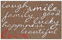 LifeStyle-Mat 100505 Lachen mit Liebe, rutschfeste und waschbare Fußmatte, ideal für den Eingang, die Garderobe oder Küche, 40 x 60 cm, braun/rosa