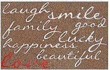 LifeStyle-Mat 100512 Lachen mit Liebe, rutschfeste und waschbare Fußmatte, ideal für den Eingang, die Garderobe oder Küche, 50 x 75 cm, braun/rosa