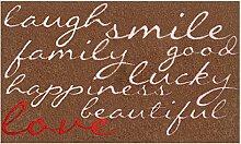 LifeStyle-Mat 100529 Lachen mit Liebe, rutschfeste und waschbare Fußmatte, ideal für den Eingang, die Garderobe oder Küche, 67 x 110 cm, braun/rosa