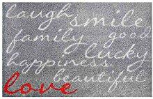 LifeStyle-Mat 100536 Lachen mit Liebe, rutschfeste und waschbare Fußmatte, ideal für den Eingang, die Garderobe oder Küche, 40 x 60 cm, grau / ro
