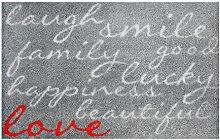 LifeStyle-Mat 100543 Lachen mit Liebe, rutschfeste und waschbare Fußmatte, ideal für den Eingang, die Garderobe oder Küche, 50 x 75 cm, grau/ro