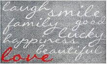 LifeStyle-Mat 100550 Lachen mit Liebe, rutschfeste und waschbare Fußmatte, ideal für den Eingang, die Garderobe oder Küche, 67 x 110 cm, grau/ro