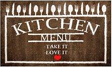 LifeStyle-Mat 100604 Menue mit Liebe, rutschfeste und waschbare Fußmatte, ideal für den Eingang, die Garderobe oder Küche, 67 x 110 cm, braun/beige