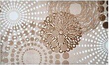 LifeStyle-Mat 100918 Punkte, rutschfeste und waschbare Fußmatte, ideal für den Eingang, die Garderobe oder Küche, 67 x 110 cm, beige/weiß