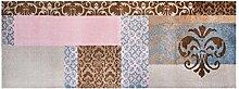 LifeStyle-Mat 101090 Barok, rutschfester und waschbarer Läufer, ideal für die Garderobe, Küche oder Schlafzimmer, 67 x 170 cm, braun/rosa