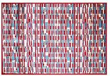 LifeStyle-Mat 150166 Teppich Rechtecke mit Rand, waschbar und rutschfest, Mikrofaser, 140 x 200 cm, bun